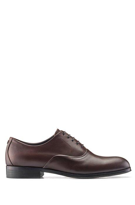 Oxford-Schuhe aus poliertem Leder mit Metalldetail, Dunkelbraun