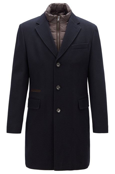 Cappotto formale slim fit con pettorina interna rimovibile, Blu scuro
