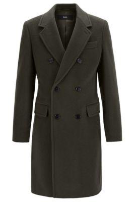 Zweireihiger Slim-Fit Mantel, Braun