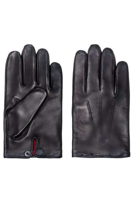 Nappa-leather gloves with branded press-stud, Black