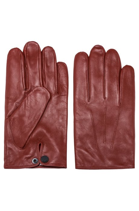 Nappa-leather gloves with branded press-stud, Brown