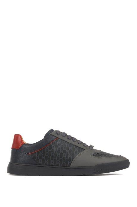 Sneakers in tennisstijl, van leer met monogrampanelen, Donkergrijs