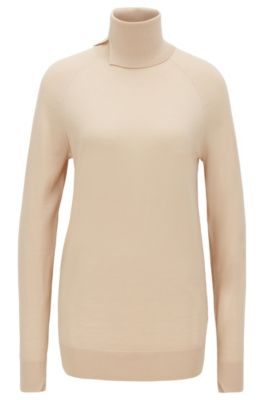Hochgeschlossener Pullover aus Schurwolle, Hellbeige
