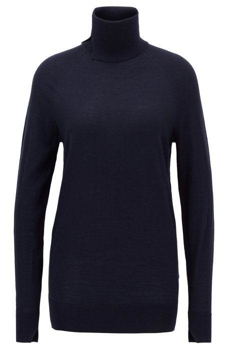 Virgin-wool sweater with high neckline, Dark Blue