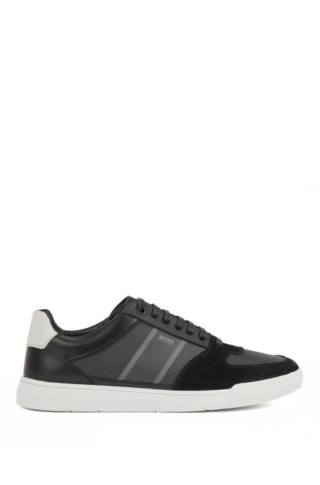 Low-top trainers in mixed materials with net panel, Black
