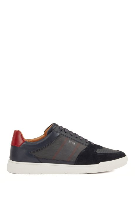 Low-top trainers in mixed materials with net panel, Dark Blue