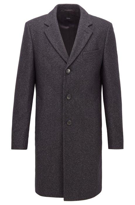 Abrigo slim fit en mezcla de lana virgen jaspeada, Gris oscuro