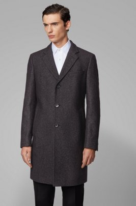 Slim-fit coat in a melange virgin-wool blend, Light Grey