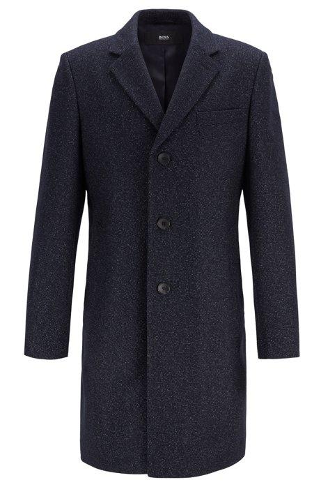 Abrigo slim fit en mezcla de lana virgen jaspeada, Azul oscuro