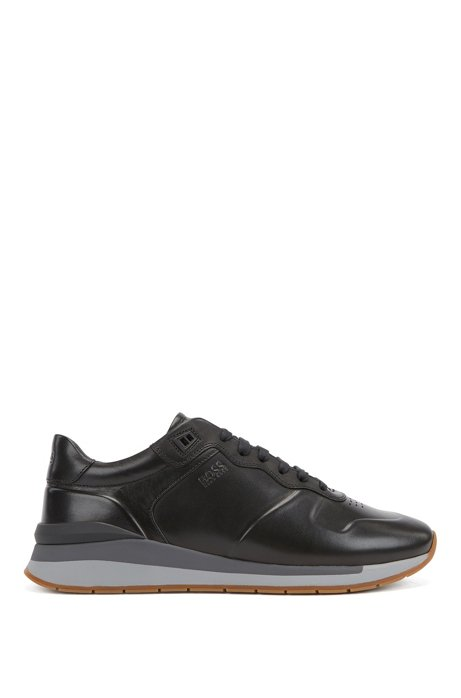 Sneakers da corsa in pelle brunita con fodera interna color cognac, Nero
