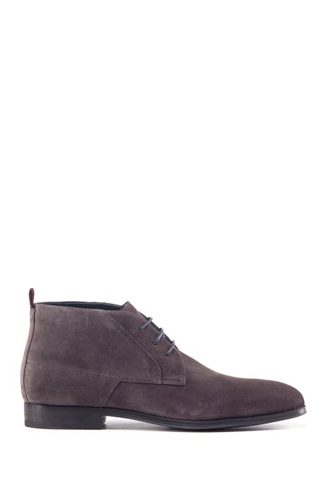 Desert boots in suede with faux-fur lining, Dark Grey