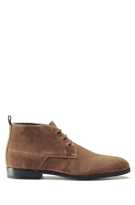 Desert boots in suede with faux-fur lining, Brown