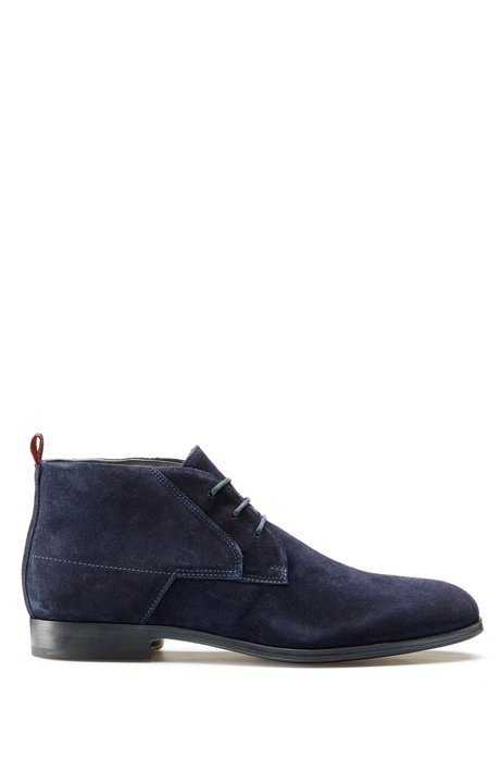Desert boots in suede with faux-fur lining, Dark Blue