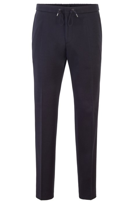 Drawstring slim-fit trousers in stretch melange fabric, Dark Blue