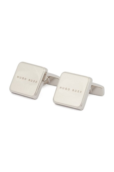 Hand-polished square cufflinks with engraved logo, Silver