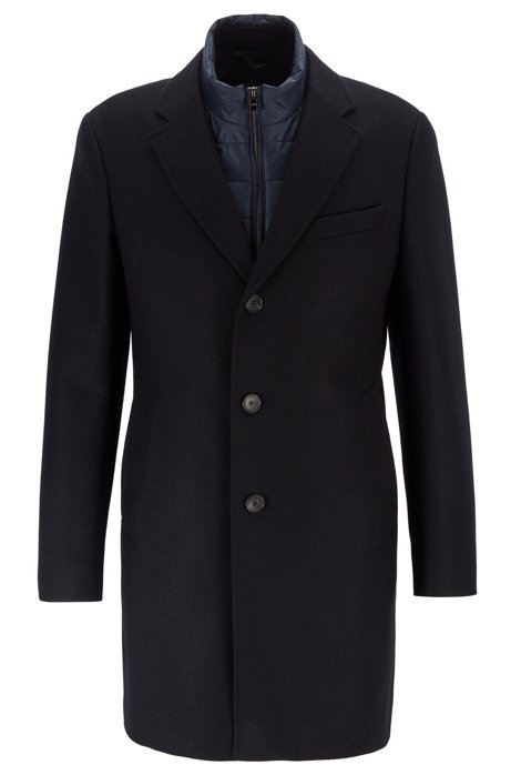 Slim-fit coat with detachable inner bib, Dark Blue