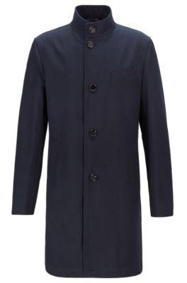 Abrigo slim fit de algodón repelente al agua con cuello mao, Azul oscuro