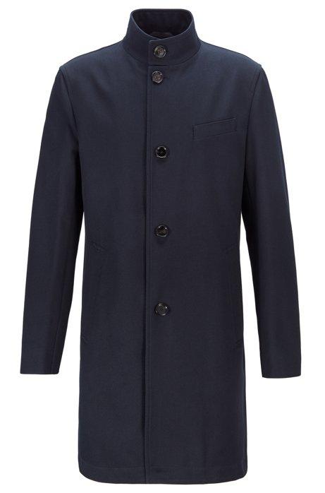 Slim-Fit Mantel aus wasserabweisender Baumwolle mit Stehkragen, Dunkelblau