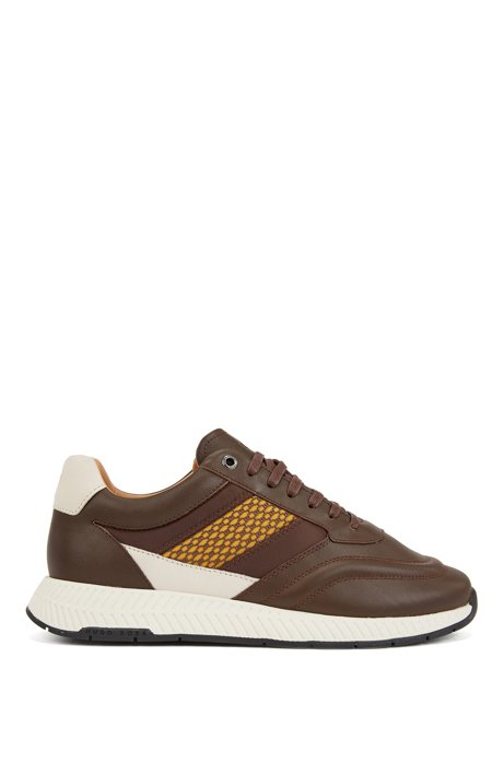 Mixed-leather trainers with injected monogram motif, Dark Brown