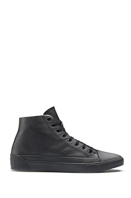 High-top trainers in grained leather, Black
