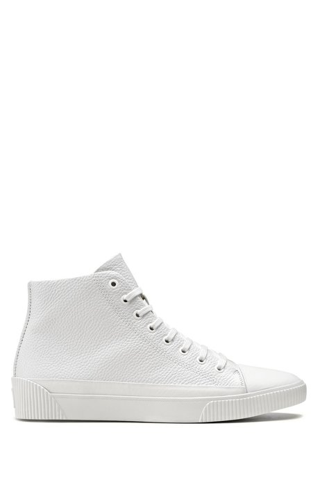 High-top trainers in grained leather, White