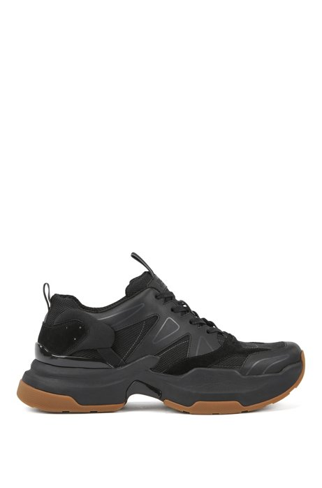 Chunky running trainers in leather and Cordura®, Black