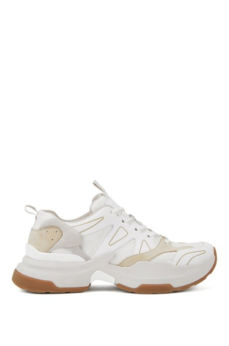Chunky running trainers in leather and Cordura®, White