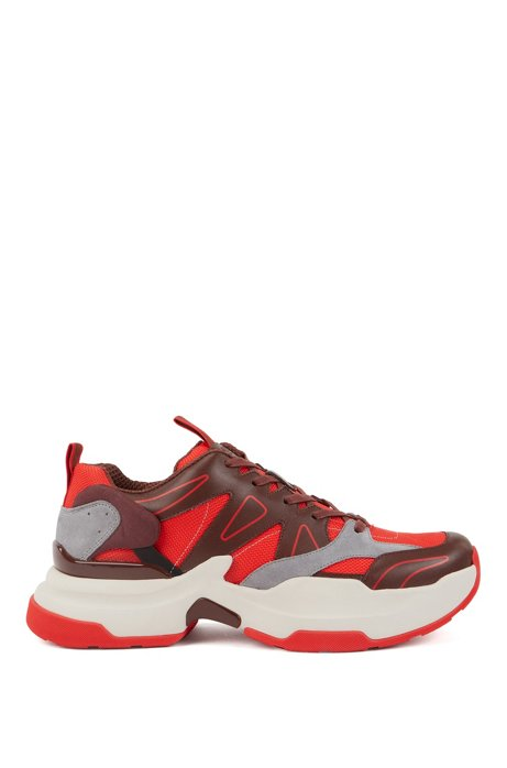 Chunky running trainers in leather and Cordura®, Dark Red