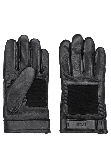 Biker-style gloves in leather and suede with logo strap, Black