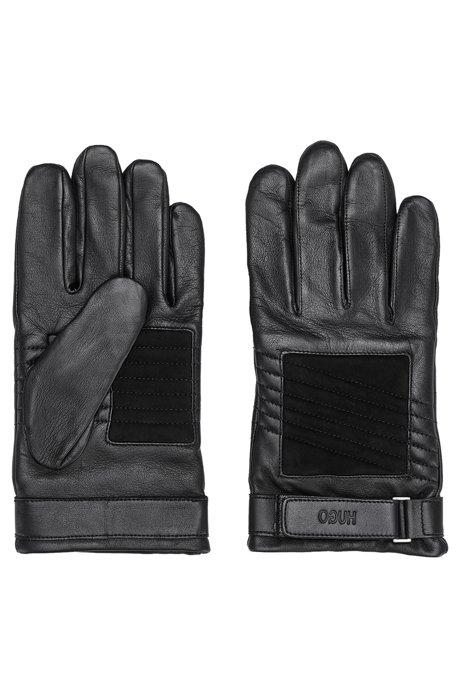 Handschoenen in bikerstijl van leer en suède met logoband, Zwart