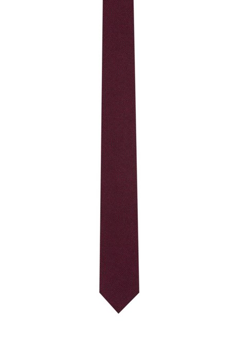 Silk-jacquard tie with two-tone micro pattern, Dark Red