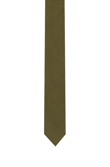 Cravatta in seta jacquard con micromotivo bicolore, A disegni