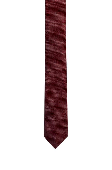 Cravatta jacquard in seta con micromotivo a contrasto, A disegni