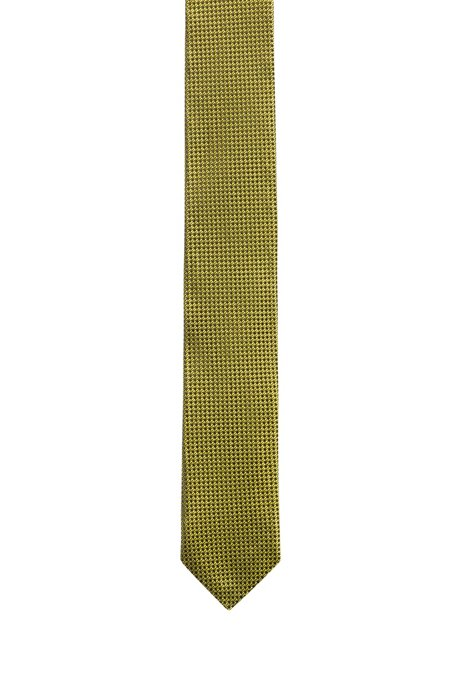 Silk-jacquard tie with contrast micro pattern, Patterned