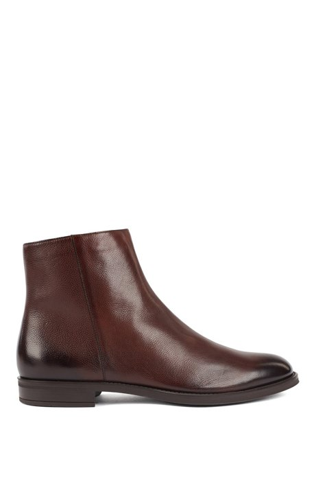 Italian-made zipped ankle boots with shearling lining, Dark Brown