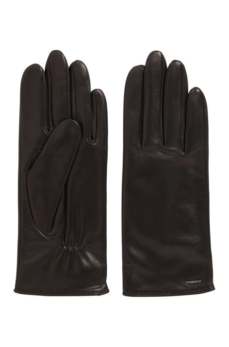 Elasticated gloves in nappa leather with logo hardware, Black