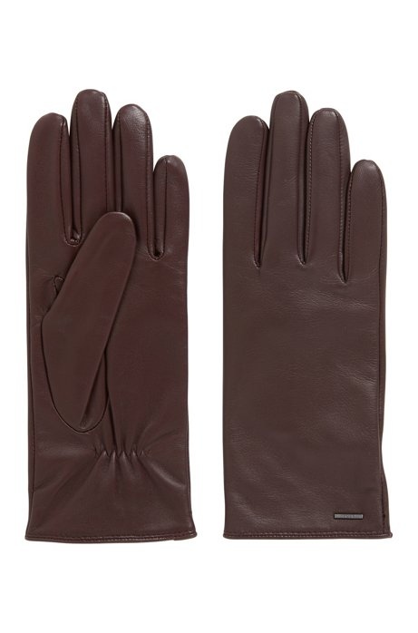 Elasticated gloves in nappa leather with logo hardware, Dark Red