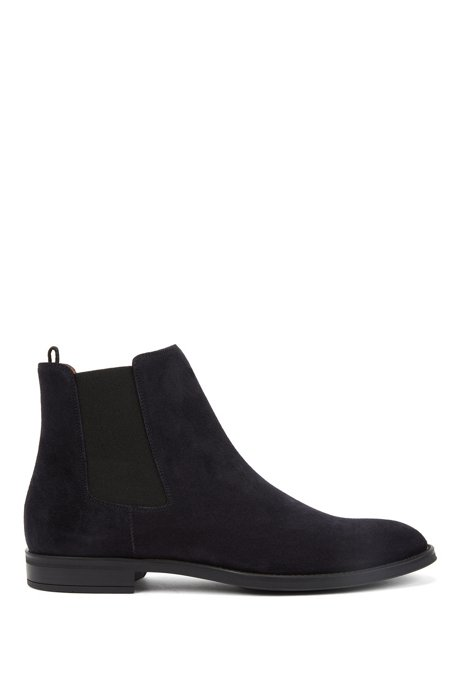 Italian-made Chelsea boots in calf suede, Dark Blue