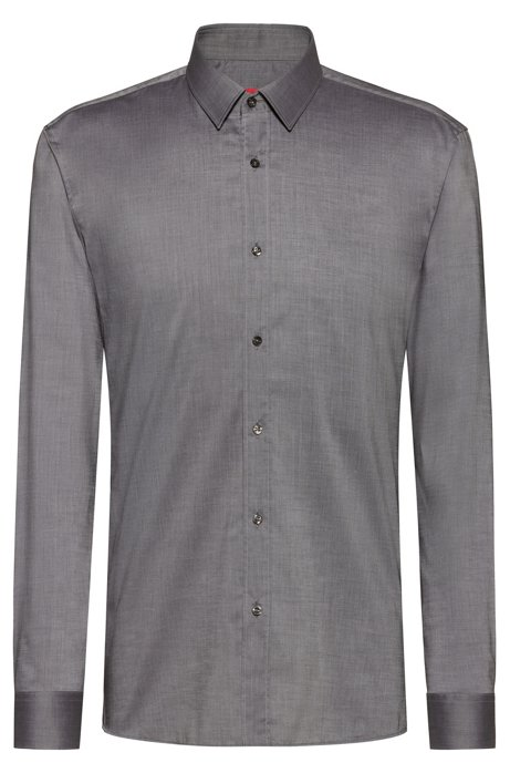 Extra-slim-fit shirt in easy-iron cotton chambray, Grey