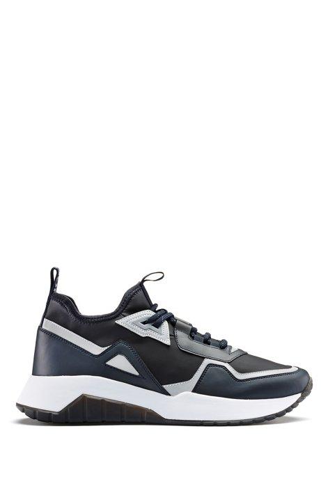 Sneakers met gecoate sok en gerubberde details, Donkerblauw