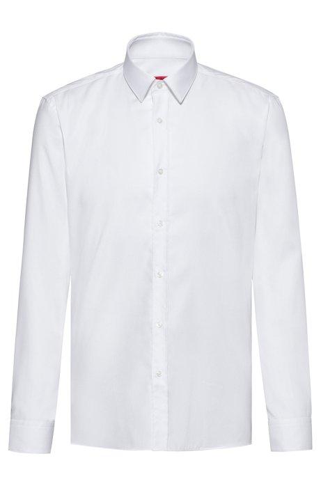 Extra Slim-Fit Hemd aus bügelleichter Oxford-Baumwolle, Weiß