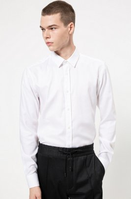 Extra-slim-fit shirt in easy-iron Oxford cotton, White