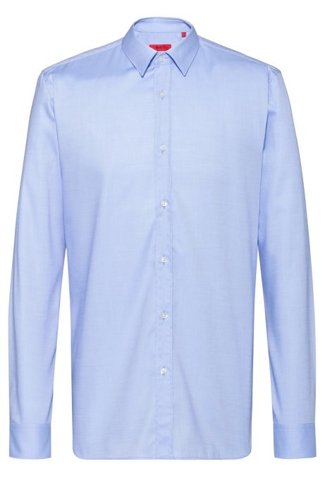 Extra-slim-fit shirt in easy-iron Oxford cotton, Light Blue