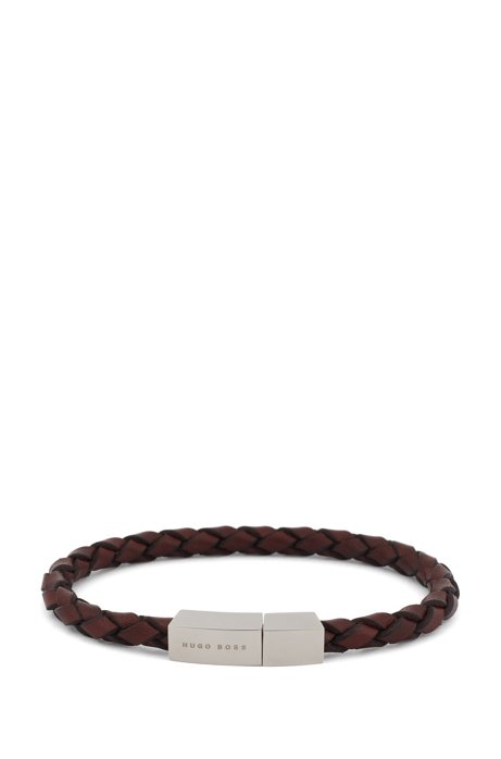 Braided-leather cuff with geometric magnetic closure, Brown