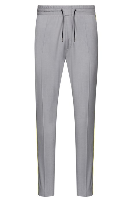 Tapered-fit trousers with contrast side-seam tape, Grey