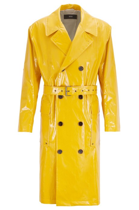 Relaxed-fit double-breasted raincoat in water-repellent cotton, Yellow
