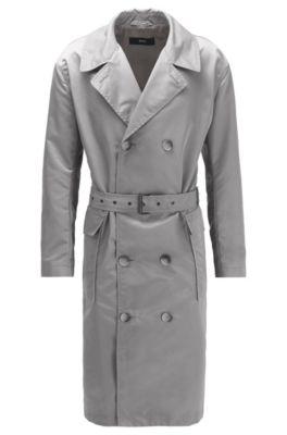 Relaxed-Fit Mantel aus wasserabweisendem Material-Mix mit Gürtel, Grau