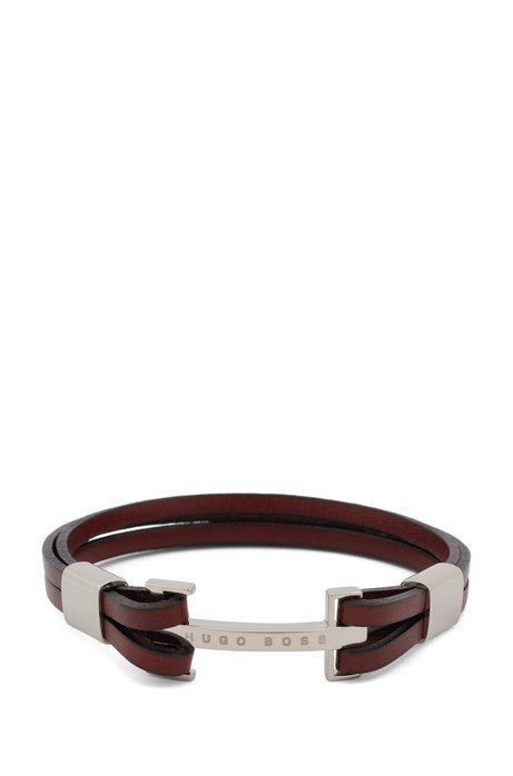 Italian-made leather cuff with curved logo plate, Brown