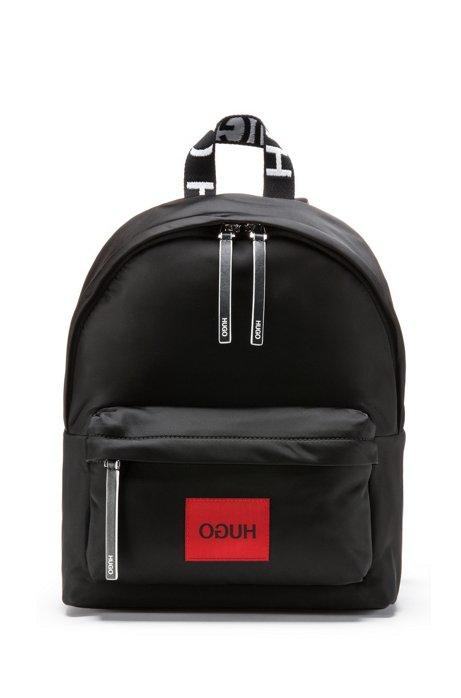 Reverse-logo backpack in nylon gabardine with woven patch, Black