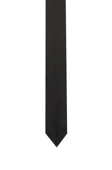 Cravatta in seta con trama jacquard e righe cucite, Nero